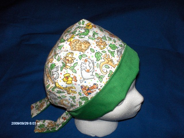 SURGICAL SCRUB CAP HAT PIXIE EASY FIT LITTLE ANIMALS