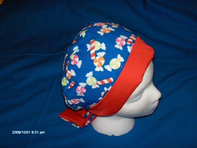 Ladies Surgical Scrub Hat Cap Pixie Seasonal CHRISTMAS HARD CANDY BLUE