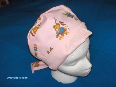 SURGICAL MEDICAL SCRUB CAP HAT PIXIE TIE BACK LITTLE BEARS ON THE BEACH