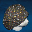Surgical Medical Scrub Hat Cap bouffant,MOON & STARS ON BLACK