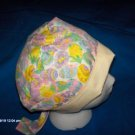 Surgical Scrub Hat , Chemo Cap Easy Fit PIXIE BONNET BRIGHT FLOWERS & EASTER EGGS