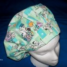 Ladies Nurses Scrubs Cap Banded Bouffant Hat CUTE PUPPIES
