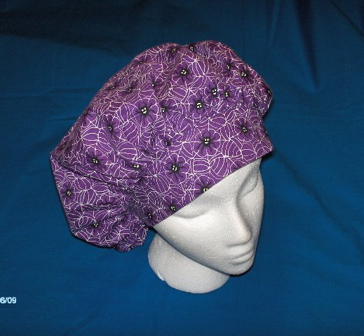 Surgical Scrub Hat Cap bouffant HALLOWEEN SPIDERS ON PURPLE