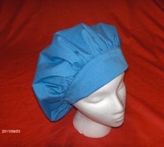 Ladies Nurses Scrubs Cap Banded Bouffant Hat SOLID CADET BLUE