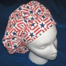 Ladies Banded Bouffants Scrub Cap Medical Hat RED WHITE AND BLUE