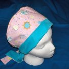 Ladies Homemade Surgical Medical Scrubs Caps Pixie Cap Fabric Hats CIRCUS PARTY