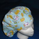 Ladies Nurses Scrubs Hat  EASTER Banded Bouffant Scrub Cap Hats Blue