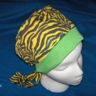 Handcrafted Ladies Surgical Scrub Cap Pixie Tie-Back Hat Hats ZEBRA PRINT with YELLOW and GREEN