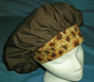 Ladies Surgical Medical Scrub Hat Cap Banded Bouffant BROWN WITH SUNFLOWERS