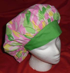 Ladies Hats Fabric Surgical Medical Scrub Caps Cap Banded Bouffant BRIGHT CAMOUFLAGE