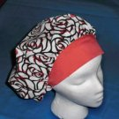 Ladies Surgical Medical Scrub Hat Cap Banded Bouffants ROSES AND RED