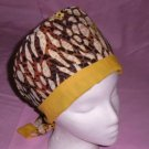 Ladies Nurses Surgical Scrubs Hats Pixie Scrub Cap Scrub Techs Medical Uniforms YELLOWS AND BROWNS
