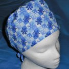 Blue Mens Doctors Scrub Techs Quality Unisex Scrub Hats Medical Caps SNOWFLAKES 2