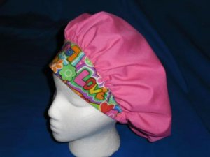 Ladies Nurses Scrubs Banded Bouffant Scrub Cap Surgery Medical Caps DARK PINK WITH LOVE