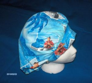 Ladies Scrubs Banded Bouffant Scrub Cap Surgery Medical Caps ELVIS PRESLEY BLUE HAWAII
