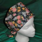 Nurses Ladies Fabric Surgical Scrubs Scrub Cap Pixie Tie-Back Hat LOTS OF CUTE FLOWERS DARK NAVY