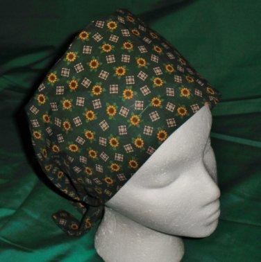 Nurses Ladies Fabric Surgical Scrubs Scrub Cap Pixie Tie-Back Hat LOTS OF TINY FLOWERS DARK GREEN