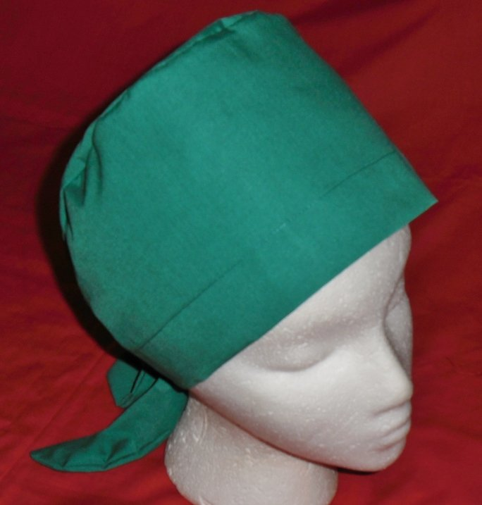 Ladies Nurses Scrubs Scrub Caps Hats Pixie Cap Surgery Scrub Hat SOLID EMERALD GREEN