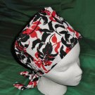 Nurses Ladies Surgical Medical Scrubs Scrub Hat Cap Pixie Cancer Recovery Chemo Caps BIG LILIES