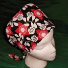 Fun Fashions Scrubs Scrub Cap Scrub Hats Nurses Surgery Caps Women Pixie Hat BIG RED FLOWERS
