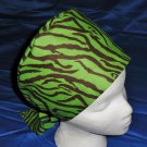 Handcrafted Ladies Surgical Scrub Cap Pixie Tie-Back Hat Hats GREEN and BROWN ZEBRA PRINT