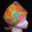 Nurses Surgical Scrubs Hat Pixie Scrub Cap Ladies Medical Hats Bright Daisies