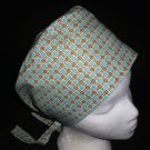Ladies Surgical Medical Scrubs Caps Pixie Cap Hat JUST TURQUOISE AND BROWN