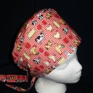 Handcrafted Ladies Fabric Surgical Scrubs Scrub Cap Pixie Tie-Back Hat FARM ANIMALS RED