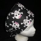 Ladies Nurses Scrubs Surgical Medical Scrub Caps Cap Affordable Girlie Skulls On Black