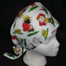 PEANUTS CHARLIE BROWN AT CAMP Nurses Surgical Scrubs Hat Scrub Caps Fabric Pixie Ladies White
