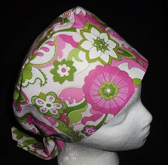 Fabric Hats Ladies Handcrafted Surgical Scrubs Scrub Caps Medical Cap Pixie Pink And Green Glitter