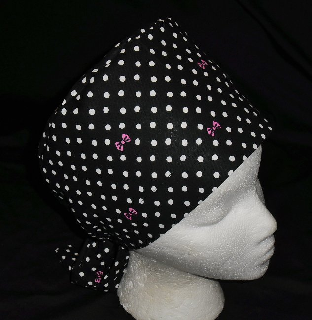 Ladies Nurses Scrubs Surgical Medical Scrub Caps Cap Black With White Polka Dots