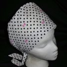 Ladies Nurses Scrubs Surgical Medical Scrub Caps Cap White With Black Polka Dots
