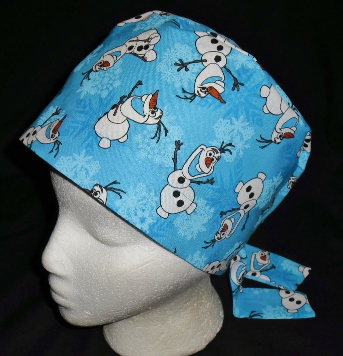 DISNEY FROZEN OLAF Nurses Scrubs Hat Ladies Hats Pixie Scrub Caps Surgical Cap Chemo Hat