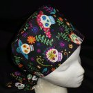 Girlie Skulls And Flowers Nurses Scrubs Hat Ladies Hats Pixie Scrub Caps Surgical Cap Chemo Hat