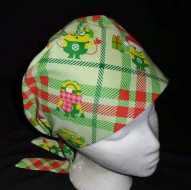 Despicable Me Minions Christmas Plaid Nurses Scrubs Hat Ladies Hats Pixie Scrub Caps Surgical Cap