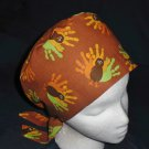 Thanksgiving Handprint Turkeys Nurses Scrubs Hat Ladies Hats Pixie Scrub Caps Surgical Cap
