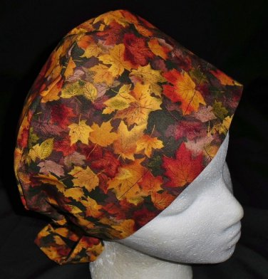 Handcrafted Colorful Fall Foliage Ladies Surgical Scrubs Scrub Cap Pixie Hat Medical Caps