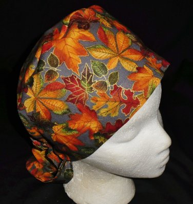 Handcrafted Colorful Fall Leaves Ladies Surgical Scrubs Scrub Cap Pixie Hat Medical Caps