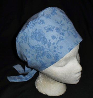 Ladies Surgical Scrubs Scrub Cap Pixie Hat Medical Caps Ceil Blue Flowers