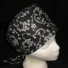 Handcrafted Black And White Ladies Surgical Scrubs Scrub Cap Pixie Hat Medical Caps