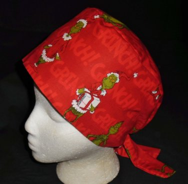 Dr.Seuss How The Grinch Stole Christmas Nurses Surgical Scrubs Scrub Caps Ladies Pixie Hat