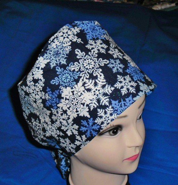 Ladies Surgical Scrubs Scrub Cap Pixie Hat Seasonal Medical Caps Glistening Snowflakes Blue