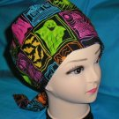 Surgical Scrub Hat Cap bouffant HALLOWEEN patches on black