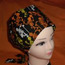 Ladies Cheap Scrub Caps Surgical Medical Hats Halloween DANCING BONES