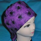 PIXIE SCRUB CAP HALLOWEEN SEASONAL LOTS BLACK SPIDERS / PURPLE