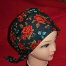 Ladies Scrubs Caps Hat Pixie Surgical Medical Scrub Cap LOTS OF RED ROSES
