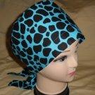 Animal Print Ladies Nurses Scrubs Hats Women Pixie Scrub Caps Surgical Cap Hats Turquoise And Black
