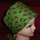 Ladies Nurses Scrubs Surgical Medical Scrub Caps Cap Lots Of Ladybugs On Green