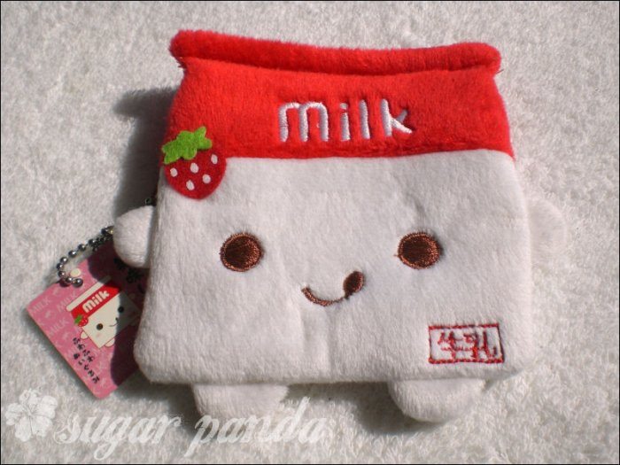 strawberry milk plush coin pouch